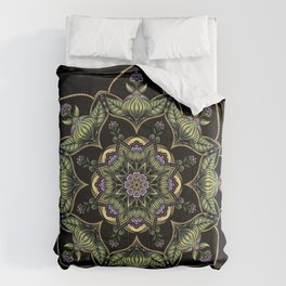 Concentric Floral I Colour on Black Comforters