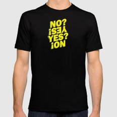 No? Yes! Yes? No! Black Mens Fitted Tee MEDIUM