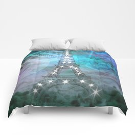 Illuminated Pop Art Eiffel Tower | Graphic Style Comforters