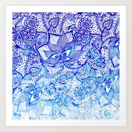 Modern china blue ombre watercolor floral lace hand drawn illustration Art Print