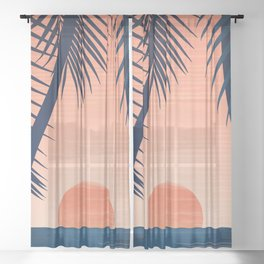 Sunset Palms - Peach Navy Palette Sheer Curtain
