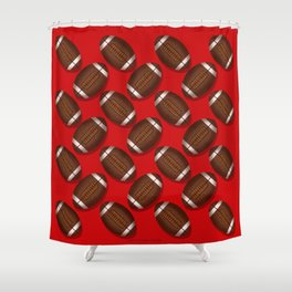 Sporty Footballs Design on Red Shower Curtain