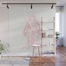 Vintage Illustration, Christ Seated, Bubblegum Pink Wall Mural
