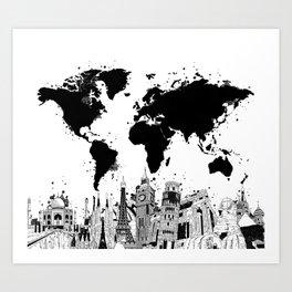 world map city skyline 4 Art Print