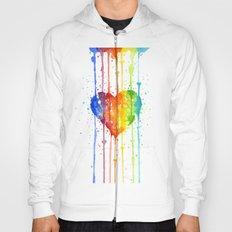 Heart Rainbow Watercolor Love Wins Colorful Splatters Hoody