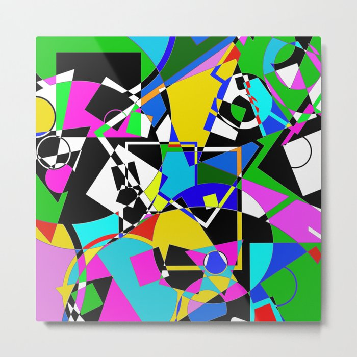 Colour Pieces - Geometric, eclectic, colourful, random pattern of shapes  Metal Print by printpix