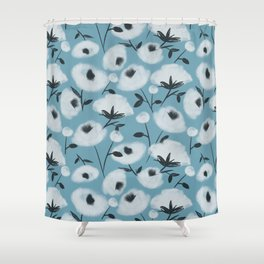 Cotton Flowers on Blue Pattern Shower Curtain