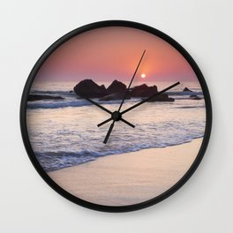 Encendida Beach At Sunset. Sancti Petri. Wall Clock