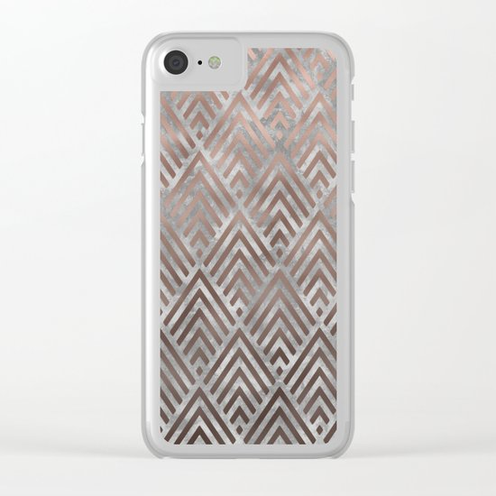 Rosegold foil triangles on grey grunge backround Clear iPhone Case