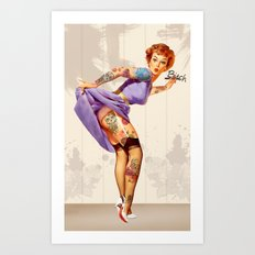 Redhead pin-up Art Print