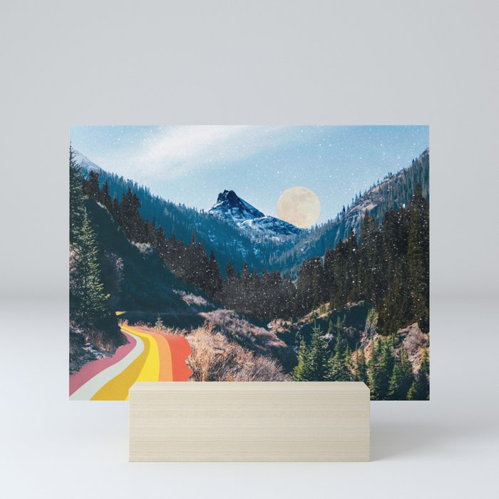 1960's Style Mountain Collage Mini Art Print