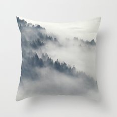 Fog in the forest Throw Pillow