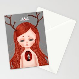 Looming Darkness - Lacuna (Little Red-Haired Girl with Antlers and Crown) Stationery Cards