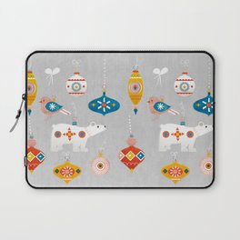 christmas vintage decorations with bear and bird Laptop Sleeve