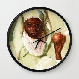 Portrait de femme à la grenade - Jose Herrerilla Cruz Herrera Wall Clock