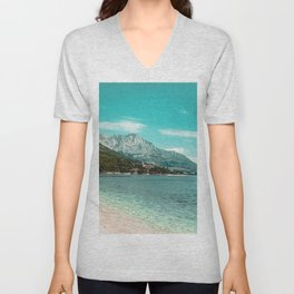 Teal Ocean Beach | Caribbean Clear Beaches Water Waves in Europe Mountain Landscape Beautiful Sky Unisex V-Neck