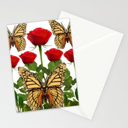 RED ROSES  & MONARCH BUTTERFLIES ART Stationery Cards