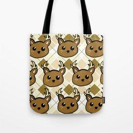 Deer and Argyle Tote Bag