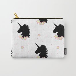 cute cartoon patern wih black unicorn silhouette with rainbow stars Carry-All Pouch