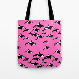 Killer Whales Orca Pod on Hot Pink Pattern Tote Bag