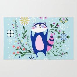Happy Raccoon Card Rug