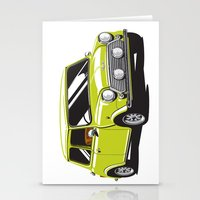 mini cooper Stationery Cards featuring Mini Cooper Car - Chartreuse by C Barrett