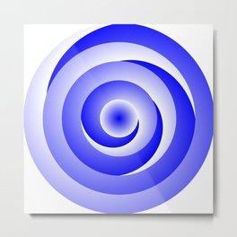 Blue Spiral Illusion Metal Print