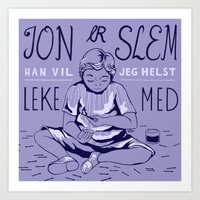 jon contino Art Prints featuring Jon by e.gordeladze