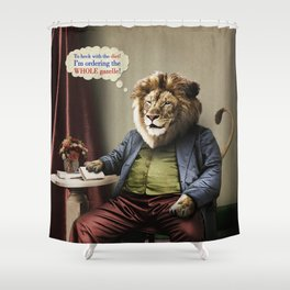 Hungry Lion Shower Curtain
