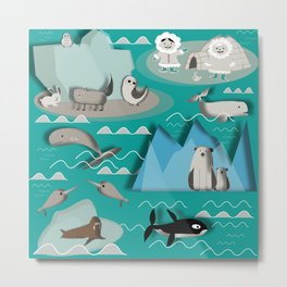 Arctic animals teal Metal Print