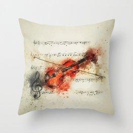 Vintage Violin Throw Pillow