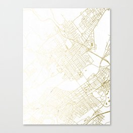 Wilkes-Barre Gold and White Map Canvas Print