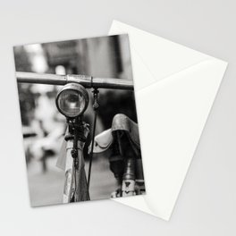 Old white bicycle in a little alley in the center of Milan Stationery Cards