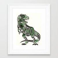 t rex Framed Art Prints featuring T-rex by Jenni D.