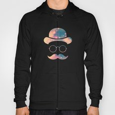 Retro Face with Moustache & Glasses / Universe - Galaxy Hipster Hoody