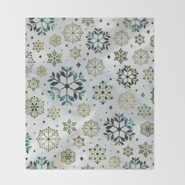 Festive Golden Abalone Shell Snowflake pattern Throw Blanket