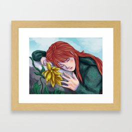 Napping by Yellow Flower Framed Art Print