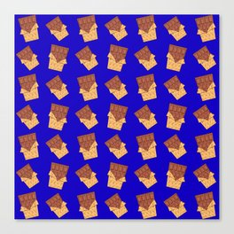 Funny sweet delicious yummy chocolate bars in golden wrappers cartoon blue retro pattern Canvas Print