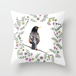 American Robin With Whimsical Flower Wreath Throw Pillow