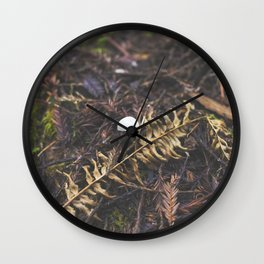 White Mushroom on Forest Floor Wall Clock