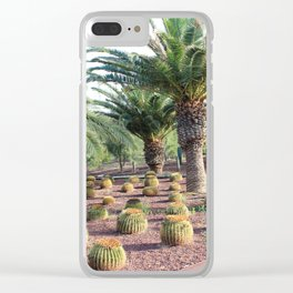 Tropical landcsape with cactus and Palm trees Clear iPhone Case