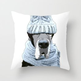 Great Dane Winter is Here Throw Pillow
