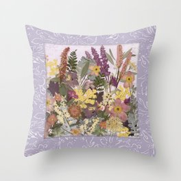 Pressed Flower English Garden Throw Pillow