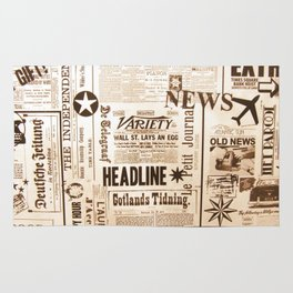 Vintage Newspaper Ads Black and White Typography Rug