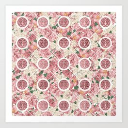 Double Happiness Symbol on Gentle Peony pattern Art Print