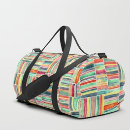 Retro Beach Chair Bright Watercolor Stripes on White Duffle Bag