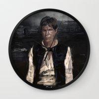 han solo Wall Clocks featuring Han Solo by Rafal Rola