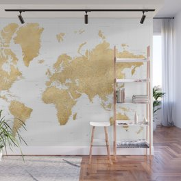 """Yellow gold highly detailed world map with cities, """"Rossie"""" Wall Mural"""
