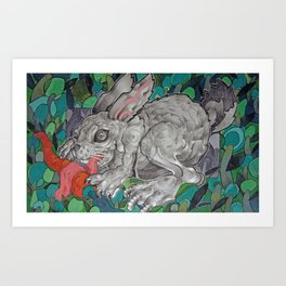 Greedy Bunny Art Print