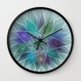 Colorful Fantasy Flower Fractal Art Abstract Wall Clock